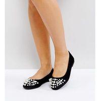 ASOS LUELLA Wide Fit Embellished Ballet Flats - Black