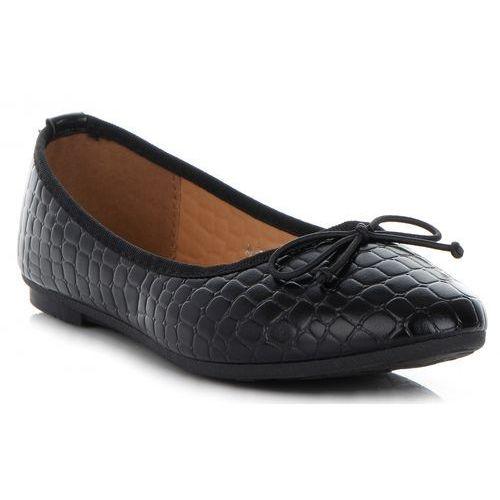 Klasyczne buty damskie balerinki we wzór aligatora marki bellucci czarne (kolory), Belluci