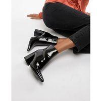 Public desire empire black patent block heeled ankle boots - black