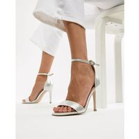 square toe 2-part heeled sandal - silver marki New look
