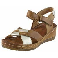 Sandały 0473 - brązowo-złote, Wasak