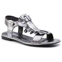 Sandały KARINO - 2827/115 Ciemny Srebrny, kolor szary