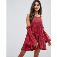young hearts lace beach cover-up dress - red, Minkpink, S-M