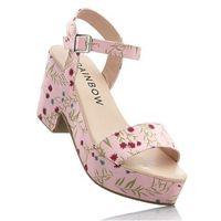 Sandały na koturnie bonprix jasnoróżowy wzorzysty, kolor różowy