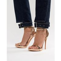 Lost ink rose gold stiletto barely there sandals - gold