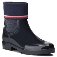 Tommy hilfiger Kalosze - knitted sock rain bo fw0fw03565 midnight 403