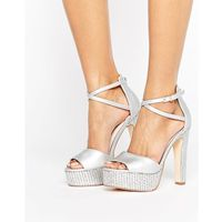 Faith layla metallic platform heeled sandals - silver
