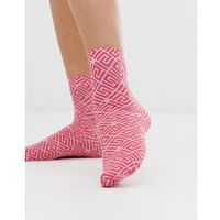 ASOS DESIGN pink and red monogram ankle socks - Multi