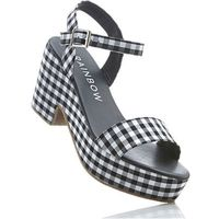 Sandały na koturnie czarno-biały marki Bonprix