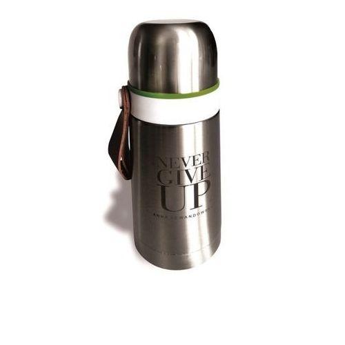 Healthy Plan by Ann - Termos stalowy srebrny Never Give Up pojemność: 350 ml