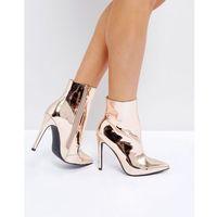 harlee high shine rose gold heeled ankle boots - gold marki Public desire