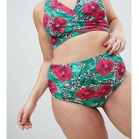 ASOS DESIGN curve highwaist bikini bottom in tropical graphic print - Multi, bikini