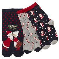 Skarpetki świąteczne (3 pary) ciemnoniebiesko-jasnoszary melanż wzorzysty marki Bonprix
