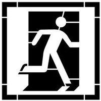 Szablon do malowania znak wyjście ewakuacyjne prawo lub lewostronne ae002 - 15x15 cm marki Szabloneria