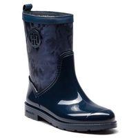 Tommy hilfiger Kalosze - shiny camo rain boot fw0fw03318 tommy navy 406