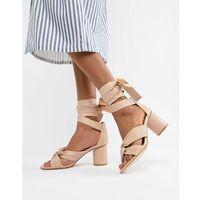 Glamorous Heeled Sandal With Ballet Lace Ups - Orange