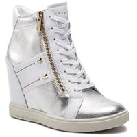 Tommy hilfiger Sneakersy - wedge sneaker fw0fw03687 white 100