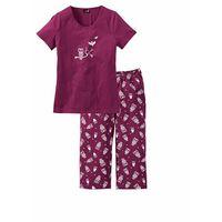 Bonprix Piżama z krótkim rękawem i spodniami 3/4 jeżynowo-biały