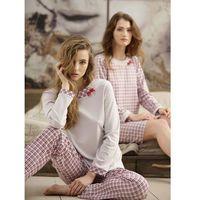 Piżama 380 s-xl dł/r s, beżowo-bordowy, cana marki Cana