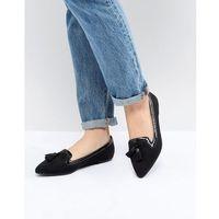 ASOS DESIGN Locker Pointed Loafer Ballet Flats - Black