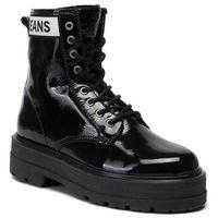 Botki TOMMY JEANS - Patent Leather Flatform Boot EN0EN00700 Black BDS, kolor czarny
