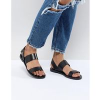 double strap sandal with ankle buckle in black - black, Pull&bear
