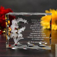 Storczyk 3D z Twoją dedykacją ♥ duży, żłobiony kryształ 3D • GRAWER 3D