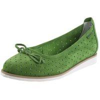 Baletki zielony 197 płaska podeszwa skóra nubukowa, Nessi