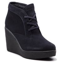 Botki TOMMY HILFIGER - Crepe Lace Up Wedge FW0FW03054 Midnight 403, w 6 rozmiarach