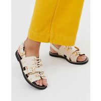 River Island flat sandals with buckle detail in nude - Beige