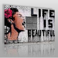 Banksy - life is beautiful - nowoczesny obraz na płótnie marki Vaku-dsgn