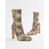 Missguided heeled ankle boots in snake print - Beige, kolor beżowy