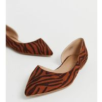 Asos design wide fit virtue d'orsay pointed ballet flats in tiger - multi