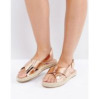 Truffle Collection Slingback Flat Espadrille Sandal - Copper