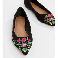 ASOS DESIGN Lantana Wide Fit Embroidered Pointed Ballet Flats - Black, kolor czarny