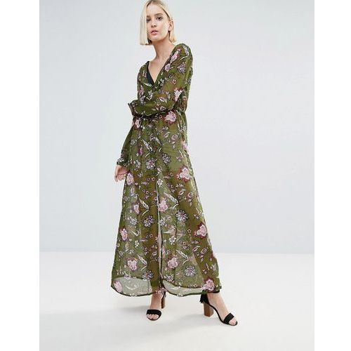 Brave Soul Long Sleeve Printed Dress With Slit - Green, kolor zielony