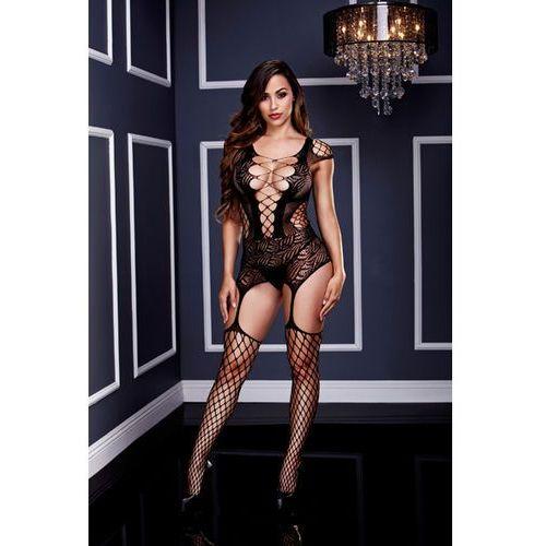 Mocno wycięte bodystocking z pończochami -  corset front suspender fishnet marki Baci