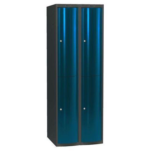 Ekskluzywne szafy osobiste 2x2 schowki w pionie Kolor drzwi: Niebieski metalizowany z kategorii Szafy i witryny