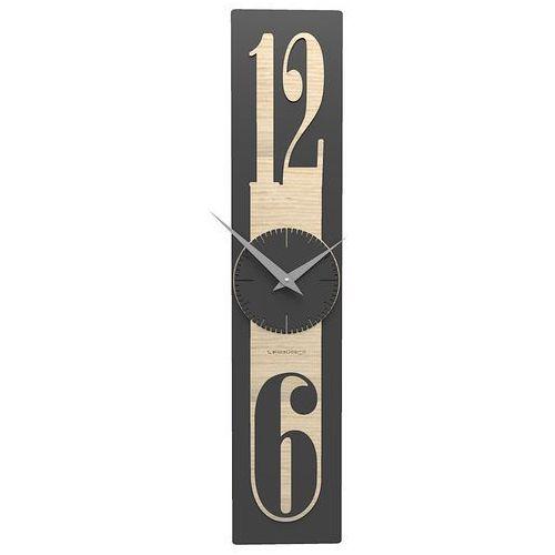 Calleadesign Zegar ścienny 12 x 58 cm thin ciemnoszary / jasny dąb (10-026-81)