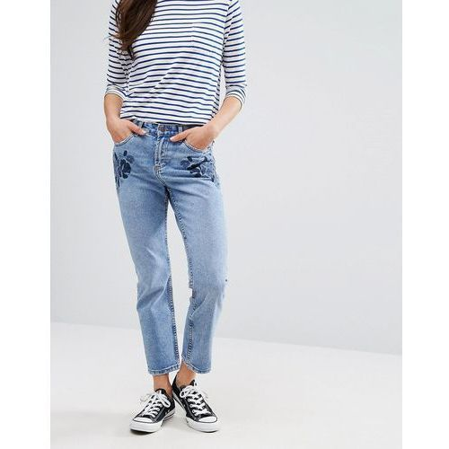 New Look Embroidered Mom Jeans - Blue, jeans