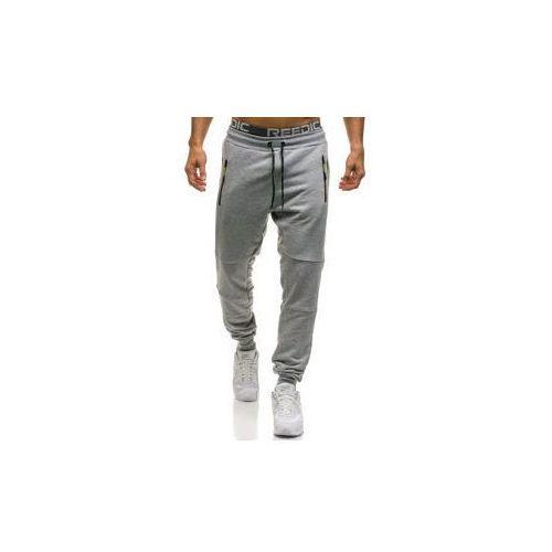 Spodnie męskie dresowe joggery szare denley 1607 marki Madmext