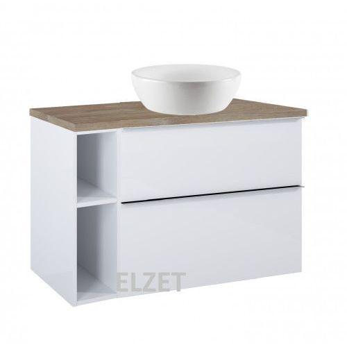 ELITA szafka Look 2S white pod umywalkę nablatową + moduł otwarty + blat 100 dąb classic 167081+167101+166901