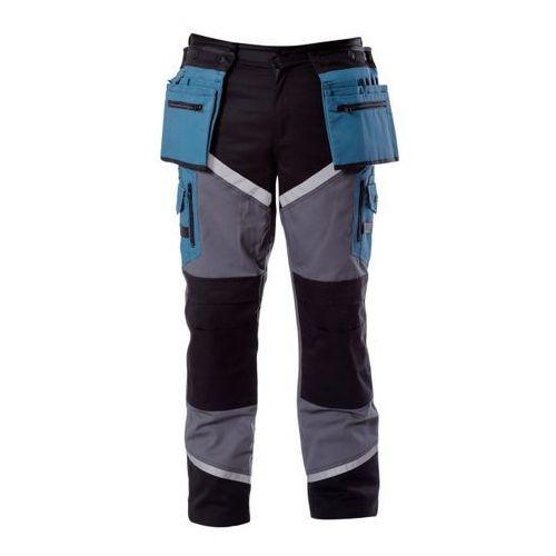 Spodnie z paskami odblaskowymi czarno-szaro-turkusowe l marki Lahti pro