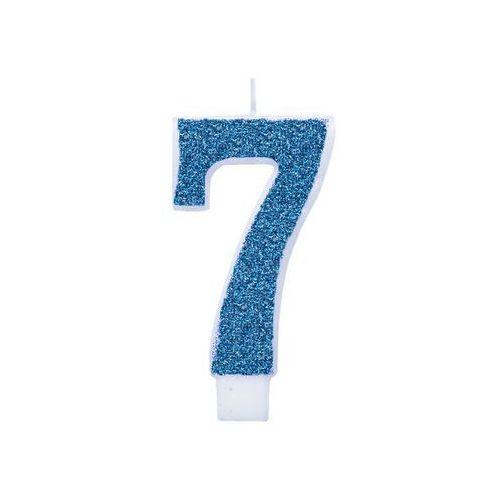 Świeczka cyferka brokatowa niebieska - 7 - 1 szt. marki Unique