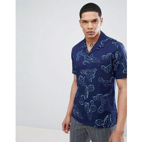 Antony Morato Revere Collar Short Sleeve Shirt In Blue With Cactus Print - Blue