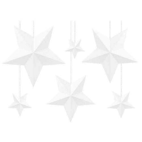Dekoracja wisząca białe gwiazdki - 6 szt.