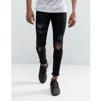 Mennace muscle fit jeans in black with distressing - black