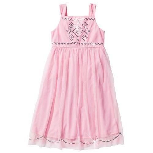 Bonprix Sukienka tiulowa z cekinami pudrowy jasnoróżowy