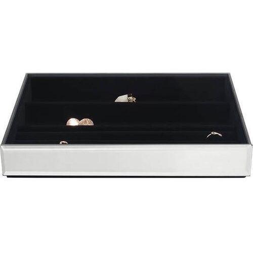 Stackers Szkatułka na biżuterię 4 komorowa classic velvet szklana z czarną wyściółką