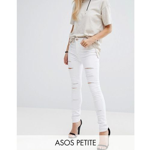 ASOS PETITE Ridley Full Length High Waist Skinny Jeans in White with Shredded Rips - White z kategorii Pozostałe